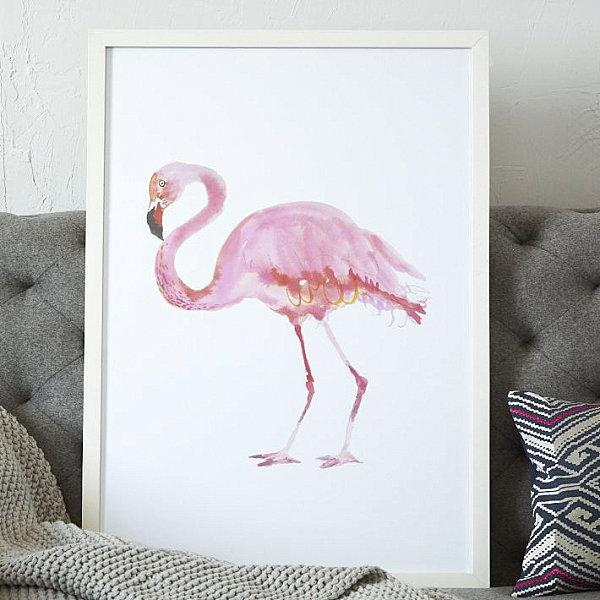 Framed flamingo art