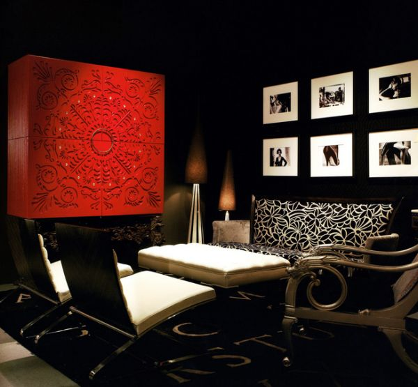 Glittering interiors in black and white with a hint of red