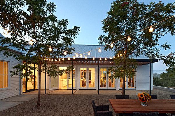 Globe lighting on an outdoor patio