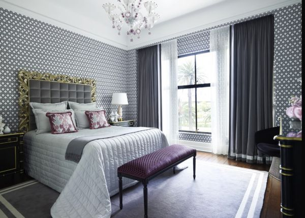 Gray and purple bedroom looks relaxed and regal!
