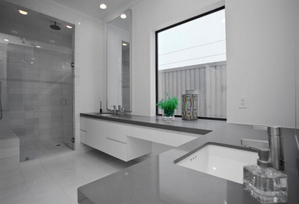 Gray countertop gives this master bathroom a unique appeal