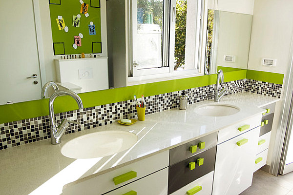 Green drawer pulls in a modern bathroom