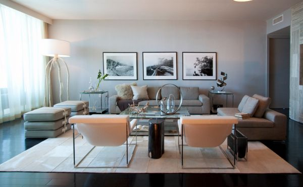 View in gallery grey contemporary interiors combined with black and white prints stylishly