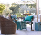 Grey patio cushions and outdoor throw pillows