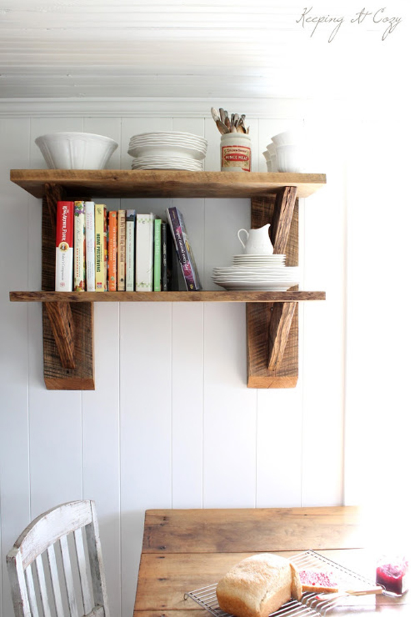 Hanging shelf unit made of reclaimed wood