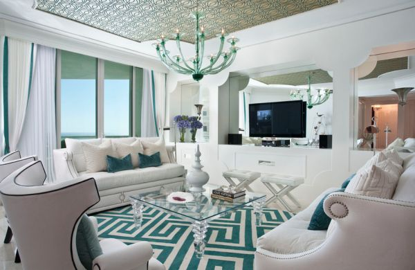 Hollywood Regency styled interiors in shades of turquoise and white