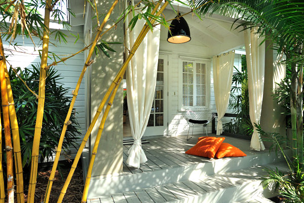Inviting porch with bamboo and palms