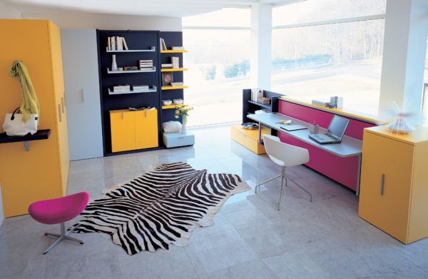 Kids' bedroom sports a playful combination of yellow and fuchsia