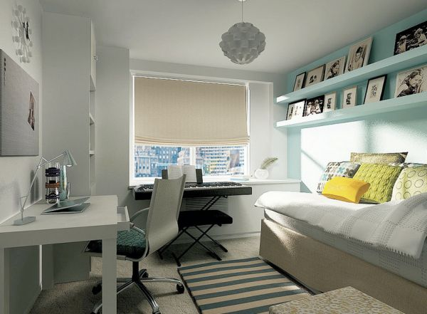 Kids' bedroom uses a light turquoise and white backdrop for accents of yellow and lime green