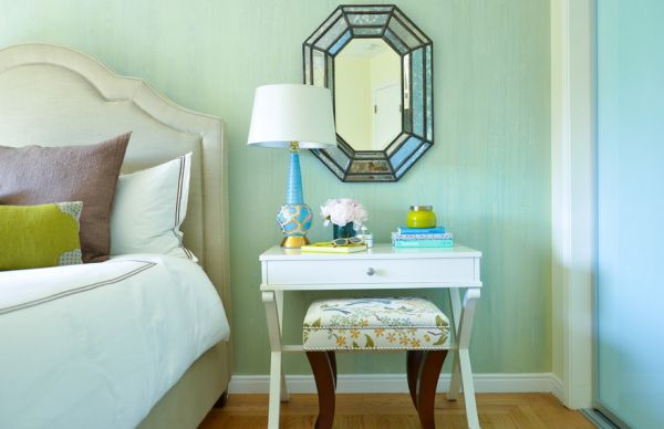 Light and warm turquoise shade in the bedrooms creates a relaxed atmosphere