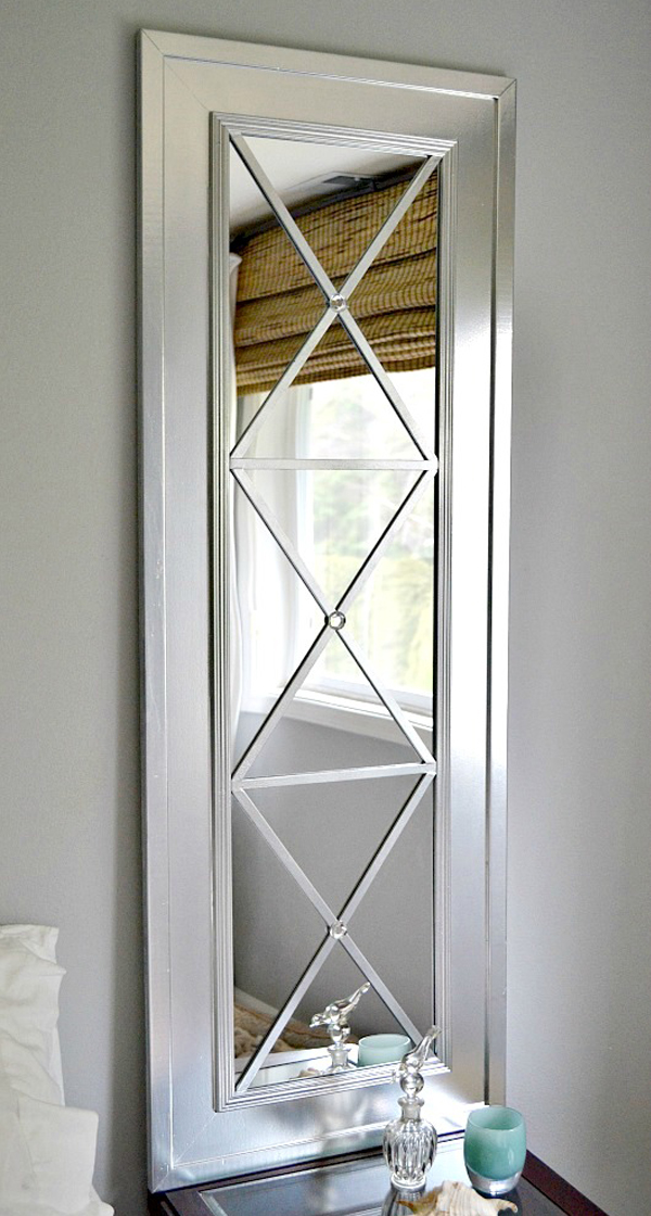 Long mirror DIY with geometric design