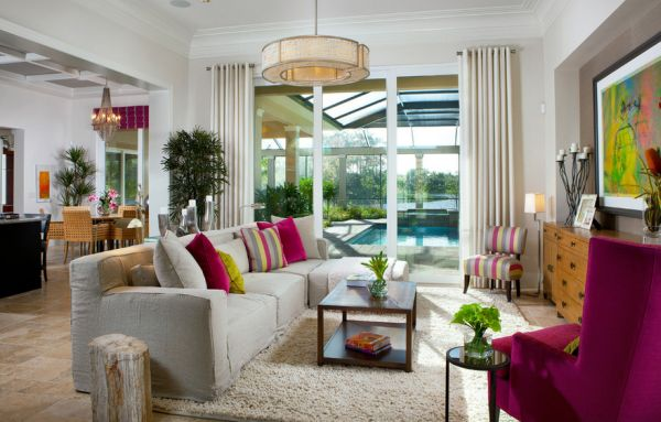 Lovely neutral interiors with pops of bright fuchsia and green