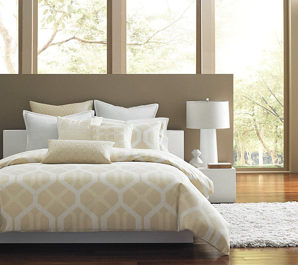 Luxury bedding in a modern bedroom