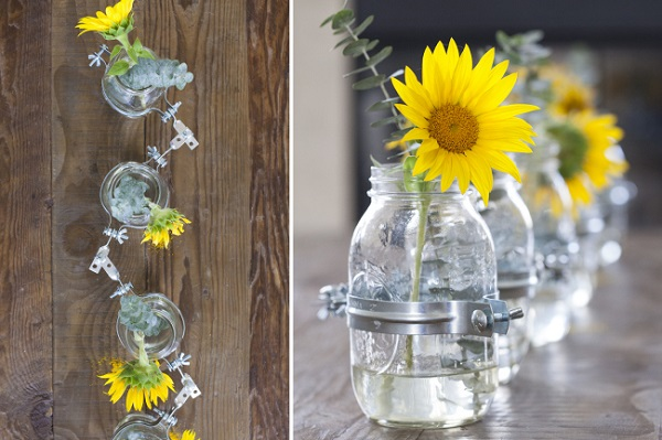 Mason jar flower vase centerpiece DIY