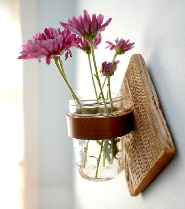 Mason jar sconce with leather strap