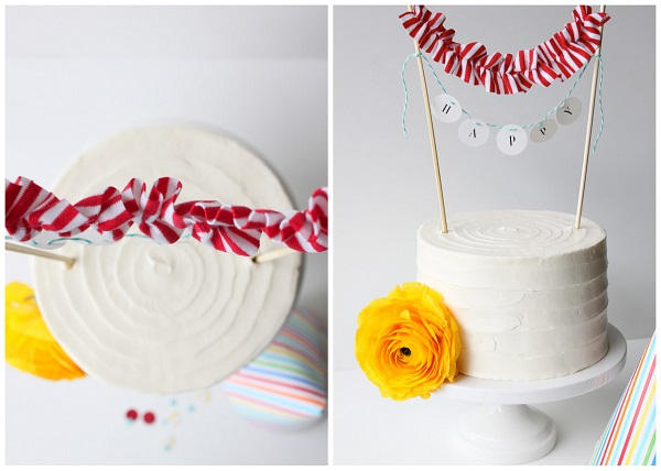 Mini cake banner with ruffles
