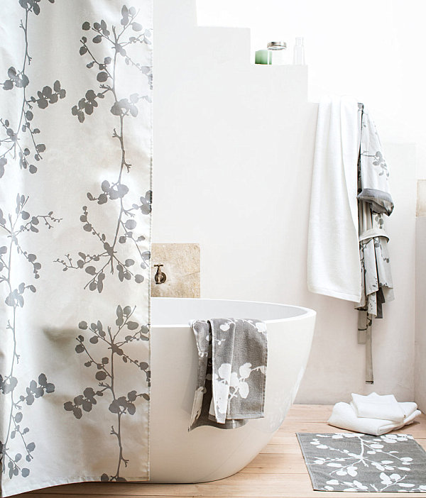 modern blossom shower curtain