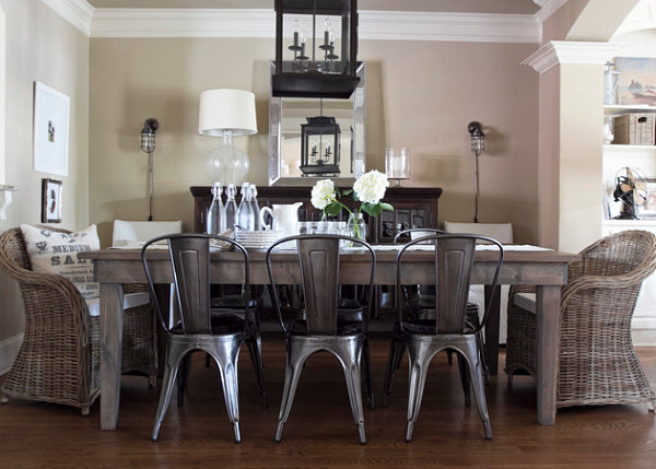 Chic gray dining room with rustic table and vintage metal chairs as - Country Home Decor With Contemporary Flair