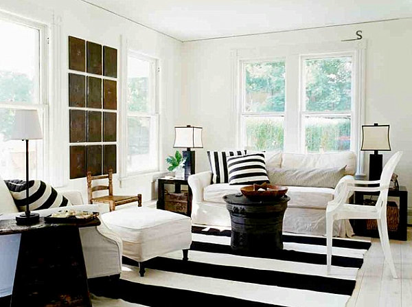 View In Gallery Modern Country Living Room With Stripes Country Home Decor With Contemporary Flair
