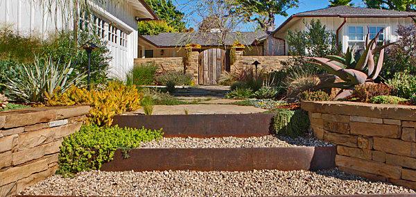 Modern front yard entrance