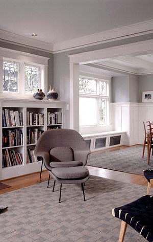 Modern furnishings in a Craftsman interior