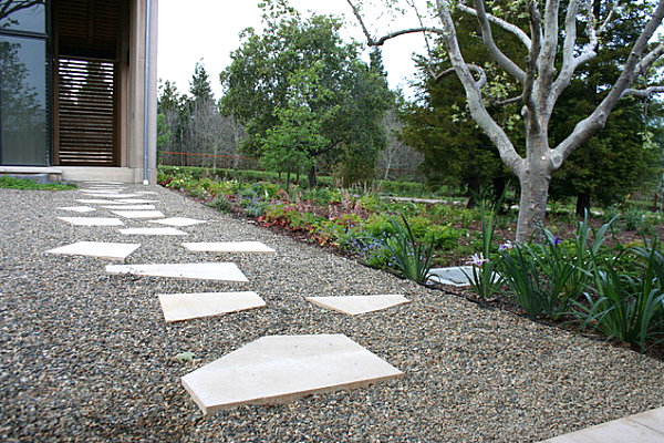 Modern gravel pathway