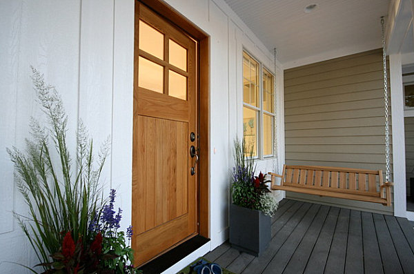 Modern planters on a Craftsman porch