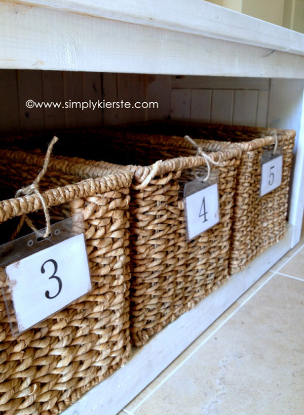 Multiple basket bench storage DIY