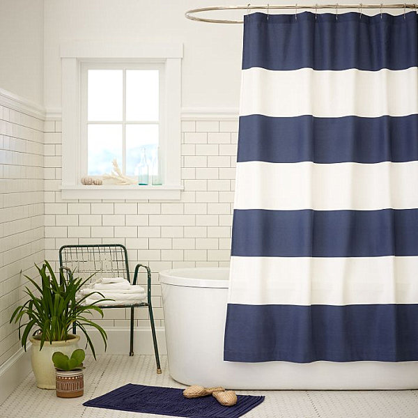 Natural Linen Shower Curtain Blue and Yellow Striped Showe