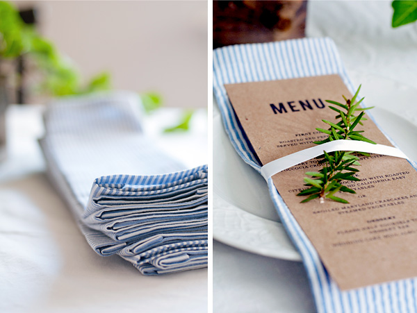 No sew napkin with menu card