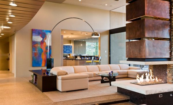 Noguchi table in the contemporary living space illuminated using the dexterous Arco!