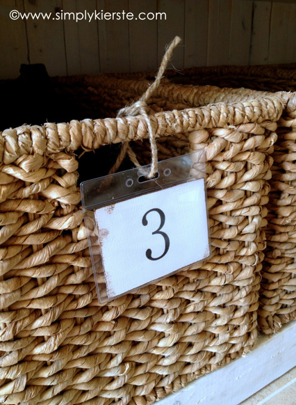 Numbered basket storage DIY