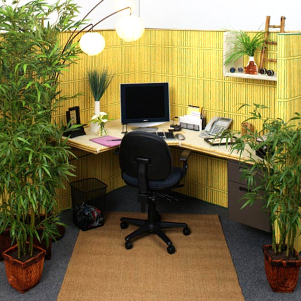 Office with bamboo accents