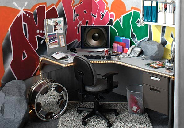 Office with grafitti art