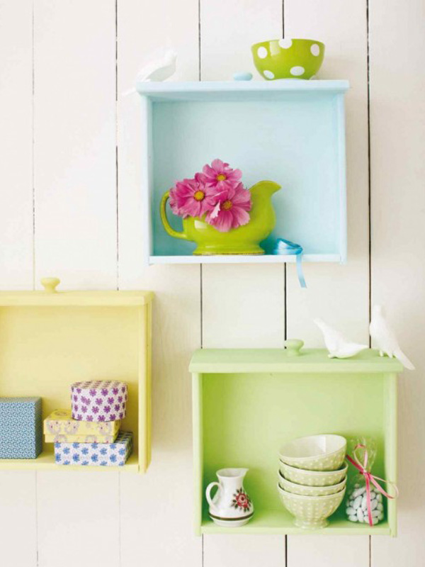 Painted dresser drawer shelves