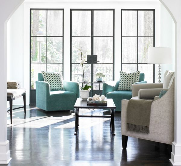 Pair of turquoise accent armchairs for a cozy conversation