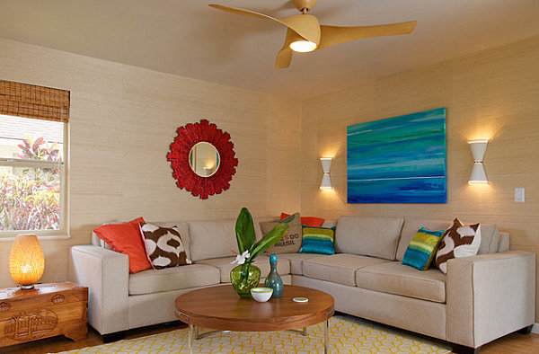 Palm leaves in a bright living room