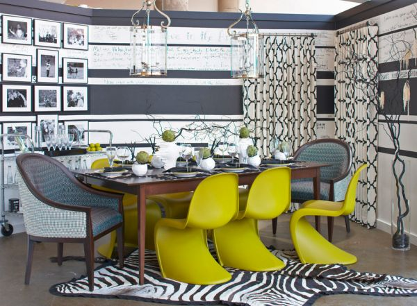 Panton S Chairs in green-yellow spice up the gray dining room