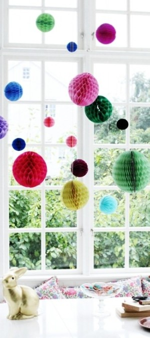 Paper honeycomb hanging decorations