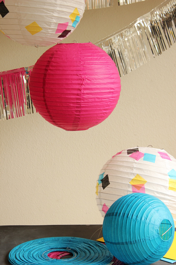 Paper lantern DIY with geometric design