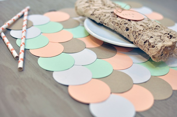 Paper medallion placemat in pastel colors