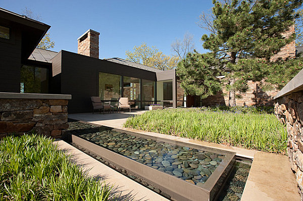 Pebble-filled garden pond