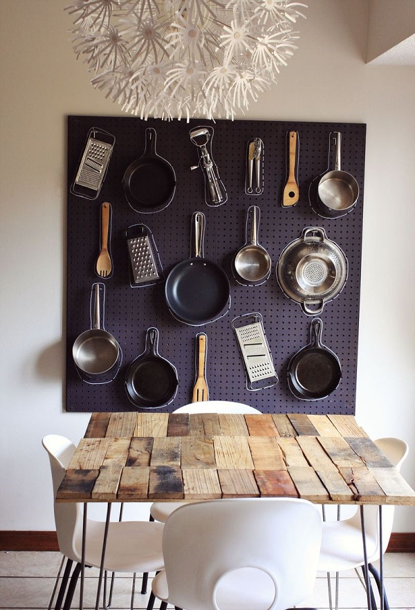Pegboard pot rack with chalk outlines