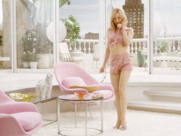 Pink womb chairs are an integral part of the Down With Love sets!