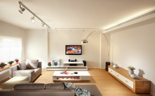 Rail lighting combined with the Arco floor lamp effortlessly
