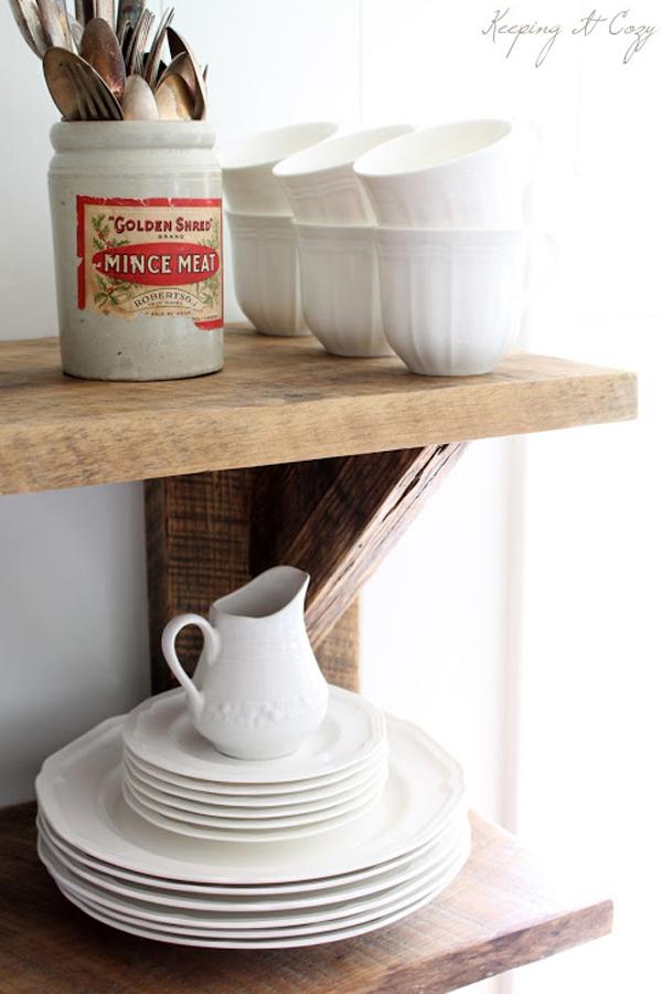 Reclaimed wood hanging shelves