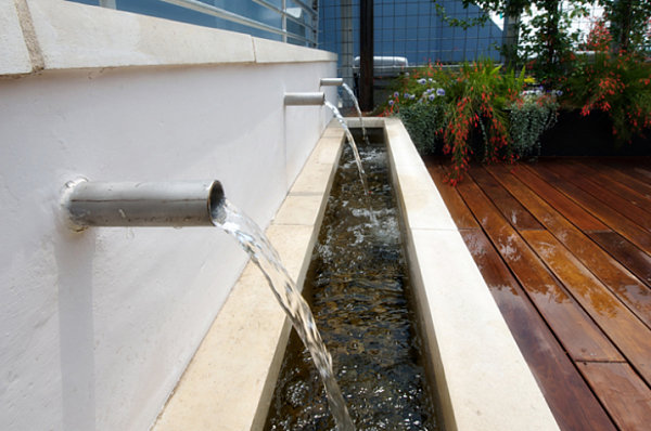 Rooftop deck water feature
