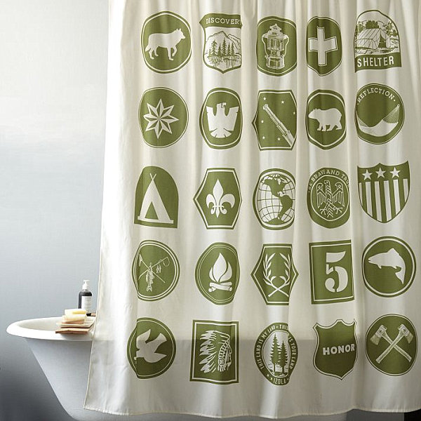 Scout-themed shower curtain