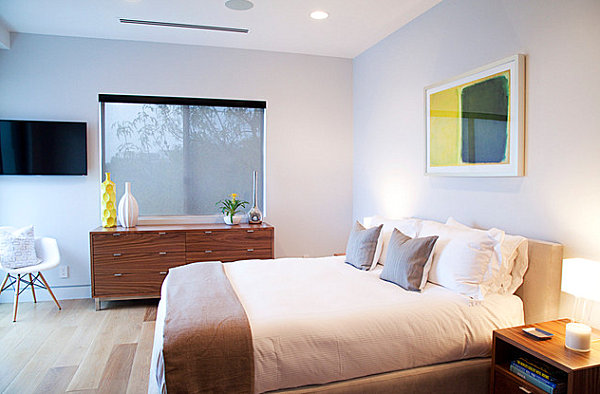 Sleek decor in a clean-lined bedroom