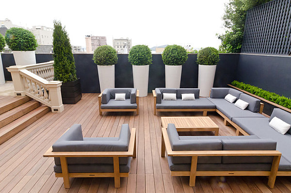 Sleek grey patio cushions